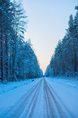 Empty snow covered road in winter landscape — Stock Photo
