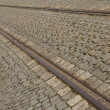 Stock Photo: Cobbled street with tram rails