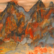 Stock Photo: Watercolour painting - mountains