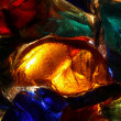 Stock Photo: Closeup of back lit stained abstract glass pattern