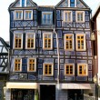 Stock Photo: Sloping half-timbered House