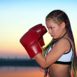 Portrait of a girl with red boxing gloves — Stock Photo #16980955