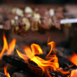 Fire and shish kebab — Stock Photo