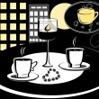 Royalty-Free Stock Immagine Vettoriale: Two cup of coffee on the table in front of the window