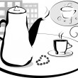 Coffee pot and cup on the table at  the morning - Stock Vector