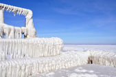Ice blocks on a pier — Stock Photo