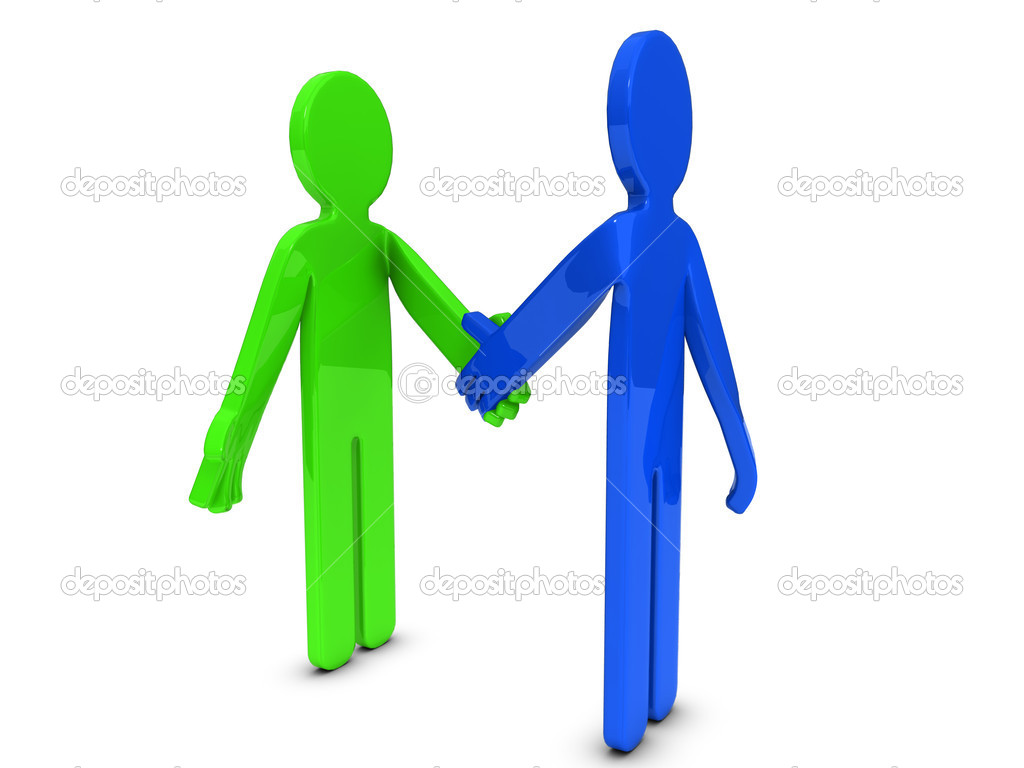 Two 3D cartoon characters are shaking hands. — Stock Photo #13176937