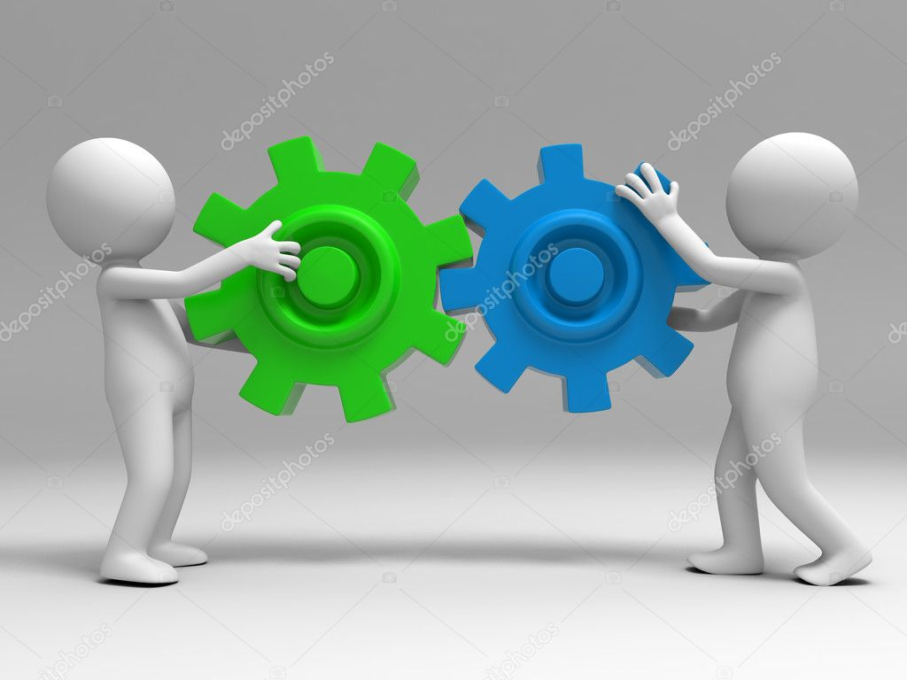 Two 3d was holding the gears — Stock Photo #13364361