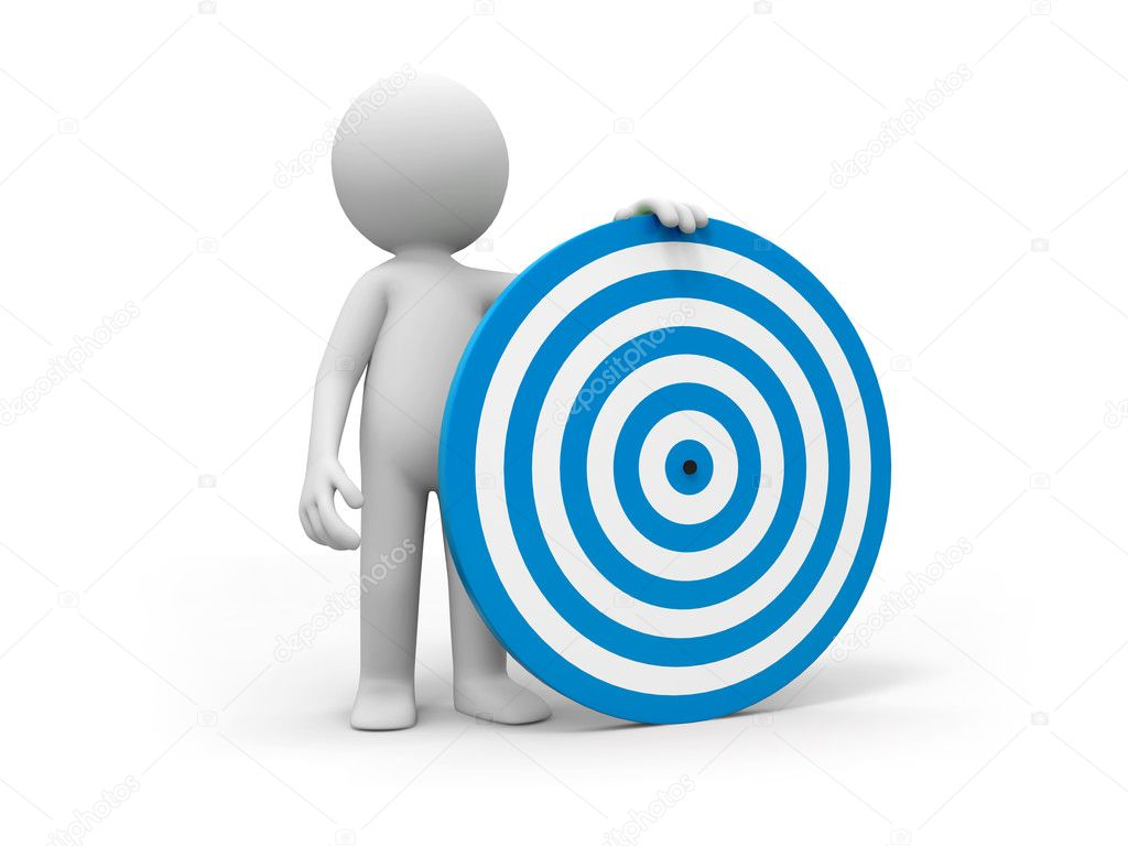 A is standing with a dartboard — Stock Photo #13417366