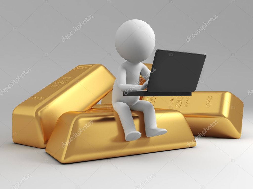 Gold,money,a sitting on a gold brick with a computer — Stock Photo #13497016