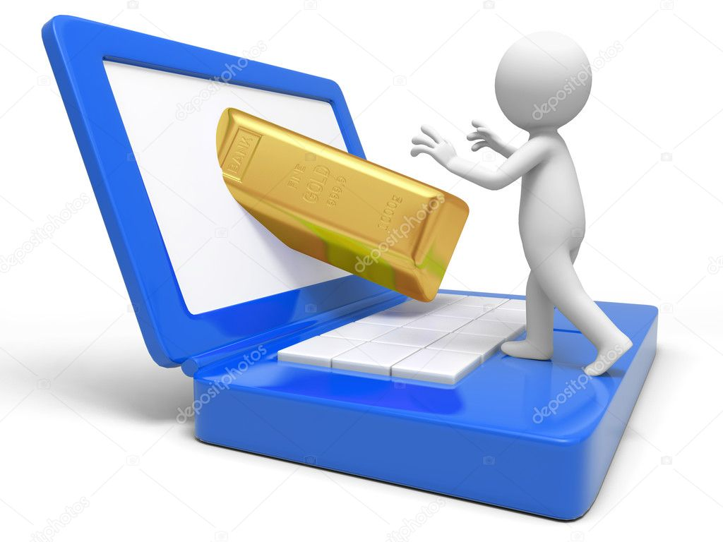 Gold,money,A take a gold brick from a computer — Stock Photo #13497067