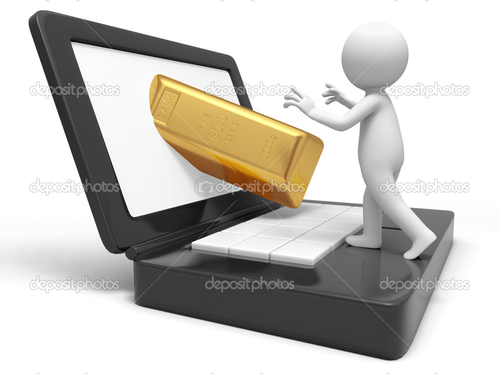 Gold,money,A take a gold brick from a computer — Stock Photo #13497079