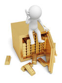 A 3d man seated on a safe thinking , full gold bars safe — Stock Photo