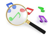 A few notes symbol, a magnifying glass — Stock Photo
