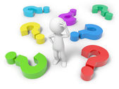 Man with question mark — Stock Photo