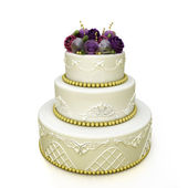 Multi-tiered wedding celebration cake with sugar roses and patterns. Isolated on white background — Stock Photo
