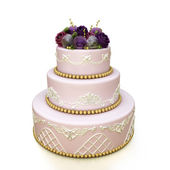 Multi-tiered wedding celebration cake — Stock Photo