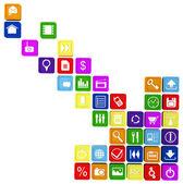 Flèche composée des applications smartphone et tablette — Photo