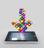 Arrow made up of the apps falling into the display gadget — Stock Photo