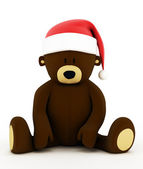 Christmas teddy bear with a hat of Santa Claus — Stock Photo