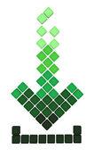 Scarica icona freccia fatta di cubi sfumati verdi cadenti — Foto Stock
