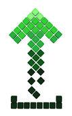 Télécharger icône de flèche, faite des cubes dégradés verts — Photo