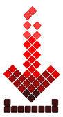 Pobierz ikona strzałki z spadające czerwone kostki gradientu — Zdjęcie stockowe