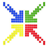 Pattern of colored arrows made out of blocks — Stock Photo