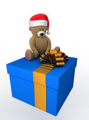 Gift box with christmas teddy bear — Stock Photo