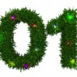 Stock Photo: Merry Christmas inscription made ​​of twigs Christmas trees and light bulbs