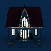 Facade family house, decorated with glowing Christmas lights — Stock Photo