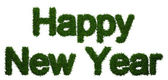 Happy New Year inscription made ​​of twigs Christmas trees — Stock Photo