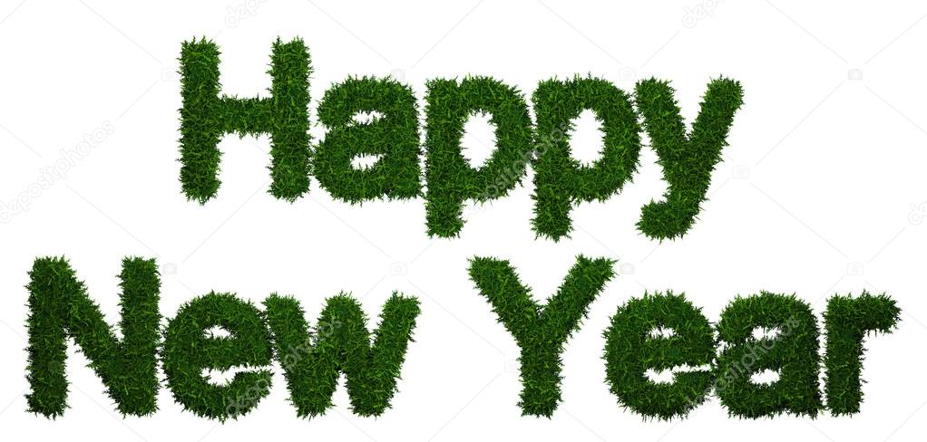 Happy New Year inscription made of twigs Christmas trees  Stock Photo #15757233