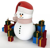 Snowman surrounded by gift boxes — Stockfoto