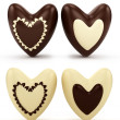 Set of chocolate hearts on Valentine's Day — Stock Photo