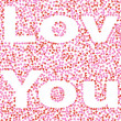 Inscription I love you made ​​of pink hearts — Stock Photo