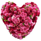 Bouquet of color roses in heart shape — Stock Photo