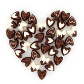 Chocolate candy hearts on a white background — Stock Photo