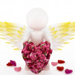 3d cupid with a big heart made of a bouquet of roses. — Stock Photo