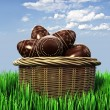 Royalty-Free Stock Photo: Basket with chocolate candy Easter eggs
