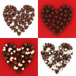 Set of scattered chocolate candy hearts — Stock Photo