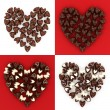 Set of scattered chocolate candy hearts — Stock Photo #19422975