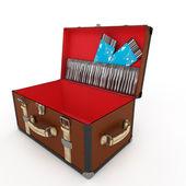 Empty open vintage leather suitcase — Stock Photo