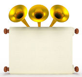 Scroll paper with golden trumpets — Stock Photo