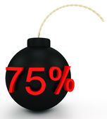 Illustration of sale. bomb at a discount in the form of a red label — Stock Photo