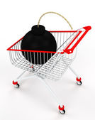 A shopping cart with a bomb — Stock Photo