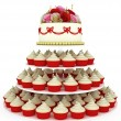 Multi tiered wedding celebration cake — Stock Photo