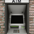 Automated teller machine on a brick wall — Stock Photo