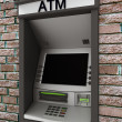 Automated teller machine on brick wall — Stock Photo #27065805