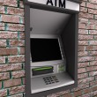 Stock Photo: Automated teller machine on brick wall
